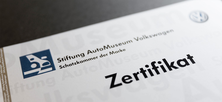 Stiftung AutoMuseum Volkswagen: Certificates and data sheets